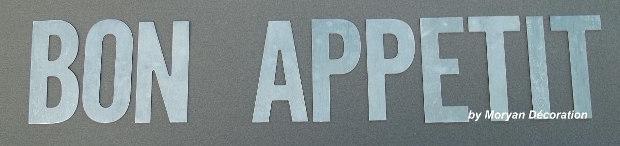 Lettre décorative en métal zinc BON APPETIT