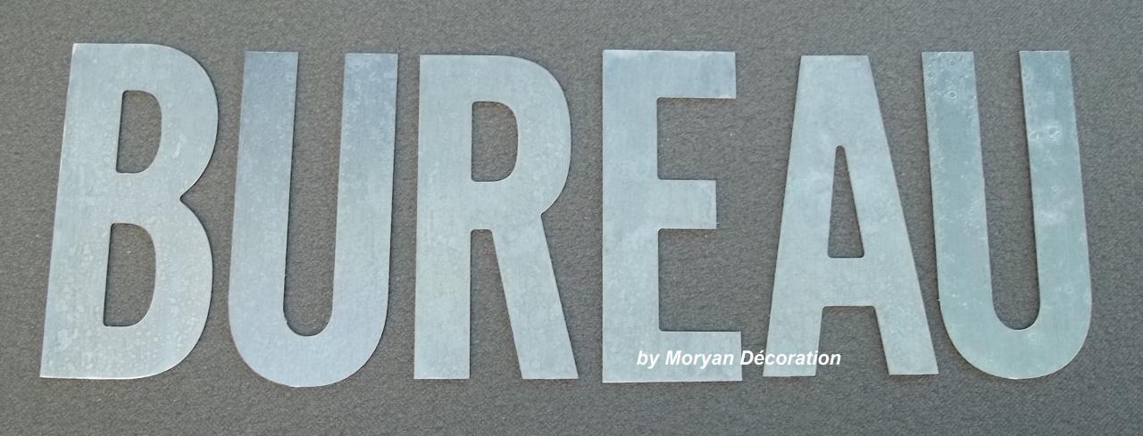 Lettre décorative en métal zinc BUREAU