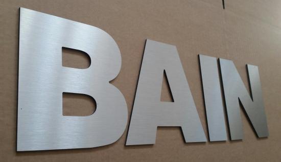 Lettre en métal alu brossé ou couleur ou miroir BAIN 1