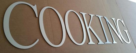Lettre en métal alu brossé ou couleur ou miroir COOKING