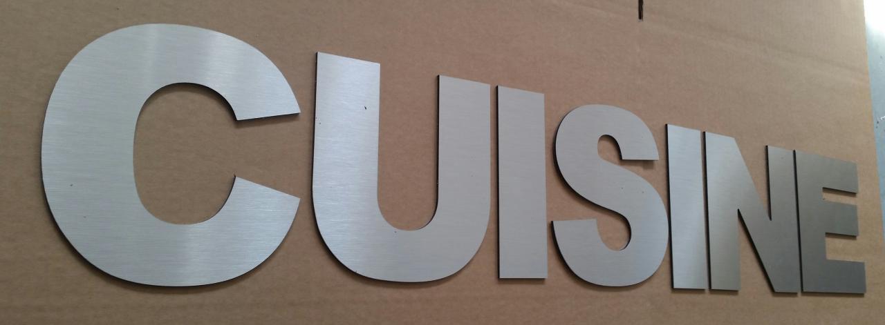 Lettre en métal alu brossé ou couleur ou miroir CUISINE 1