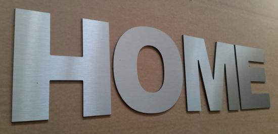 Lettre en métal alu brossé ou couleur ou miroir HOME 2