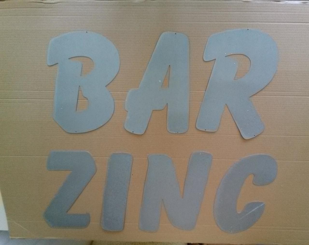 Lettre en zinc BAR ZINC