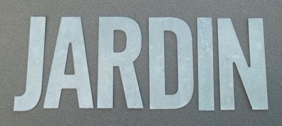 Lettre en zinc JARDIN 1