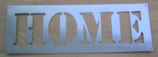Pochoir lettre en métal zinc HOME