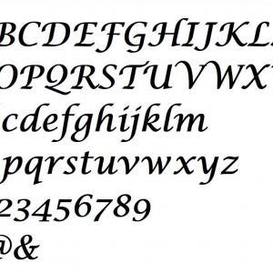 Alphabet lucida calligraphy