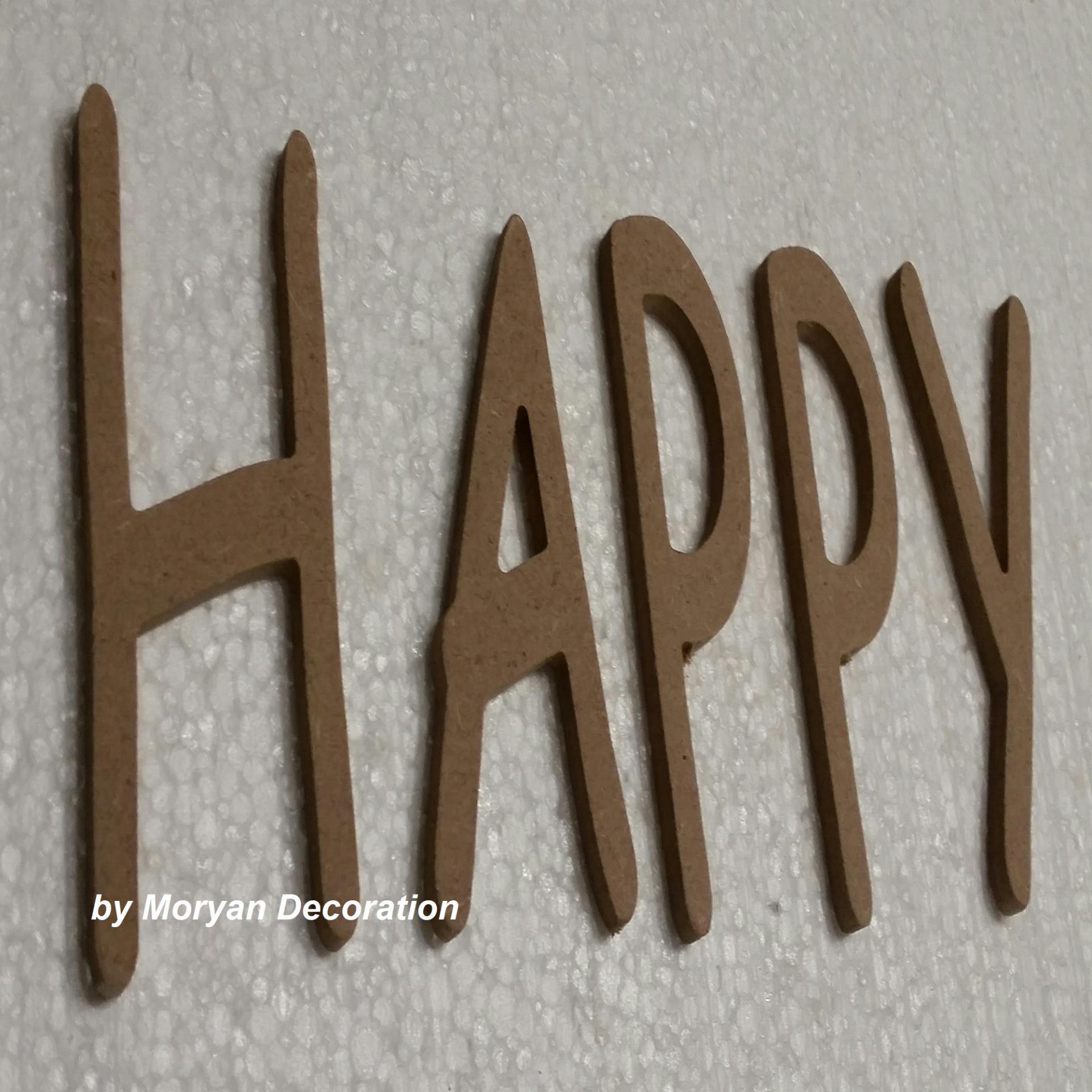 Lettre bois happy 60 cm