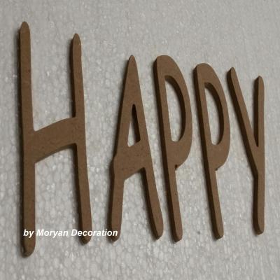 Lettre bois HAPPY , hauteur 60 cm