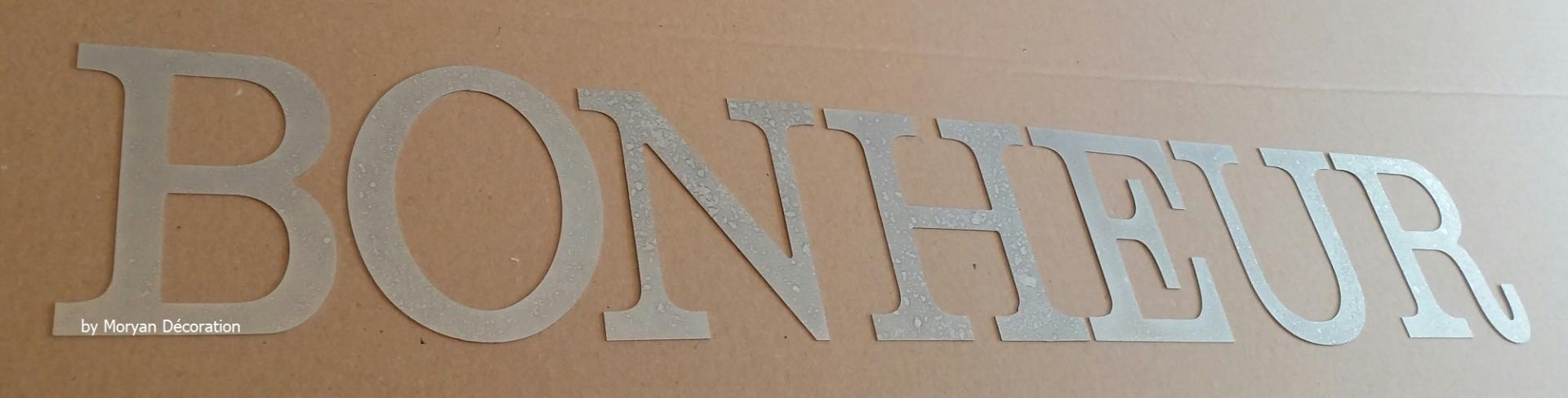 Lettre decorative zinc bonheur