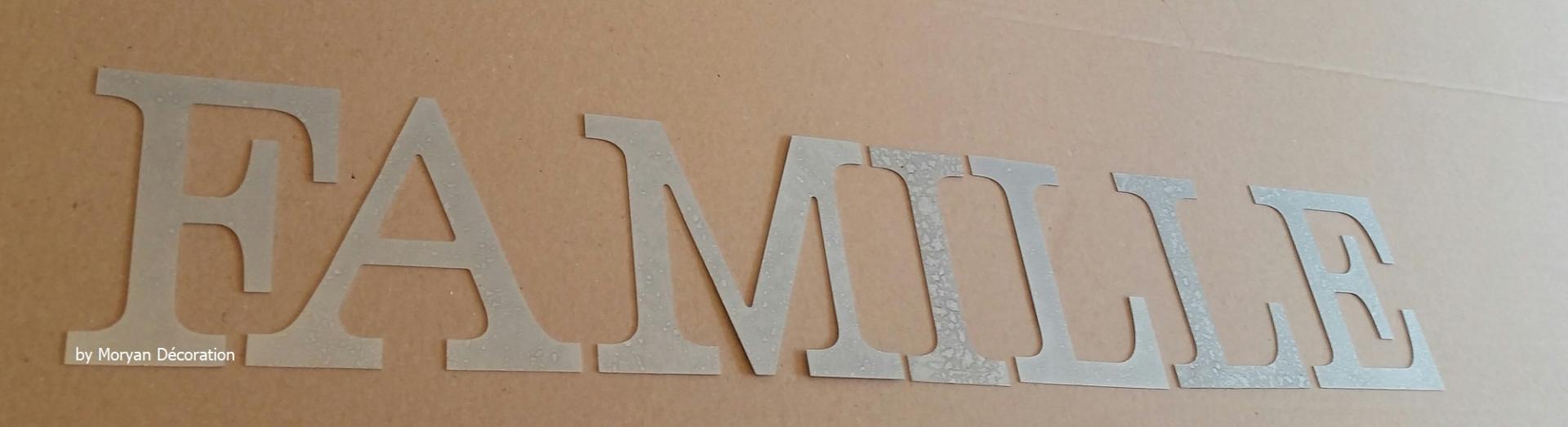 Lettre decorative zinc famille