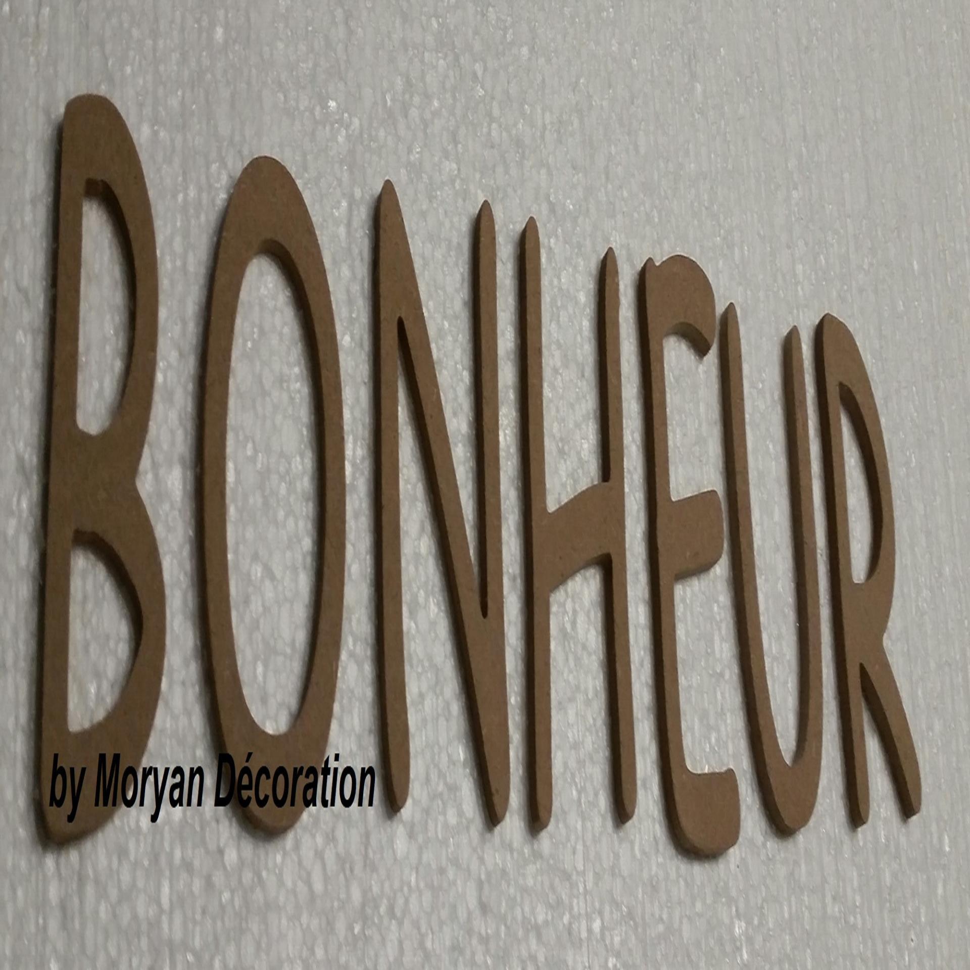 Lettre en bois bonheur 40 cm