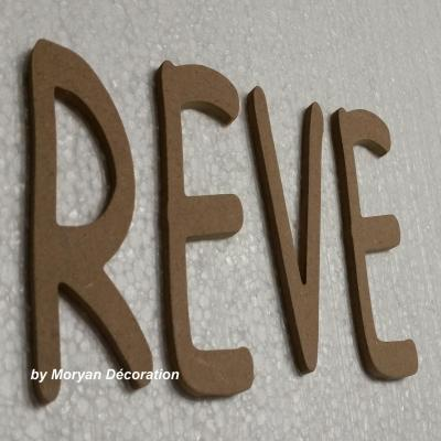 Lettre en bois decorative REVE , hauteur 20 cm