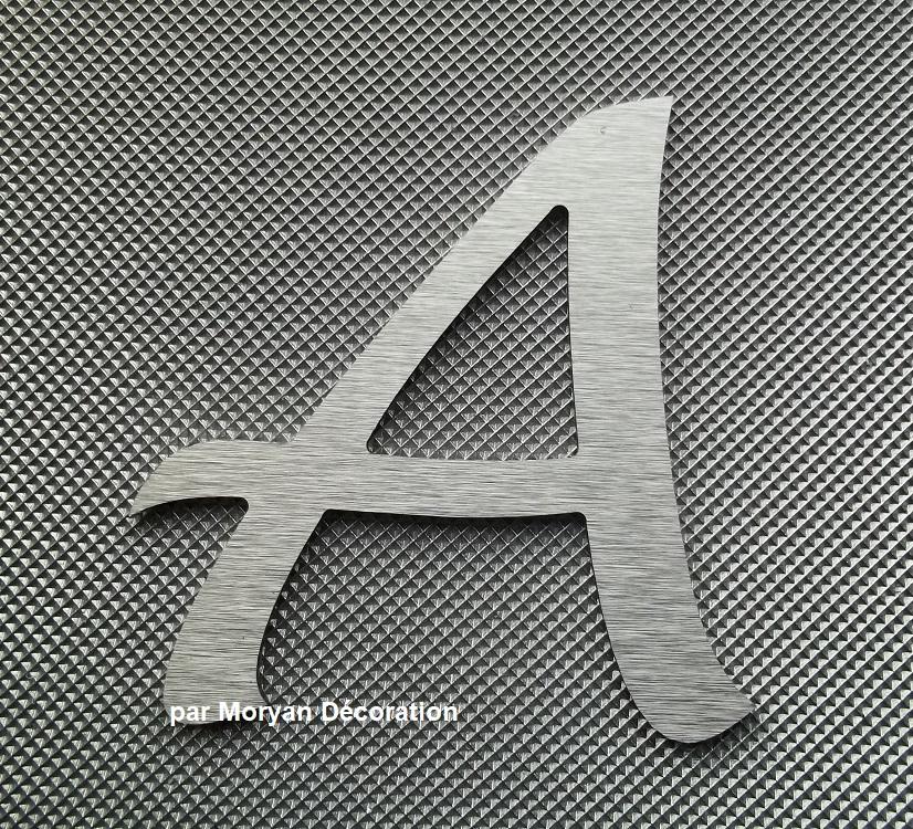 Lettre metal deco alu brosse lucida handwriting