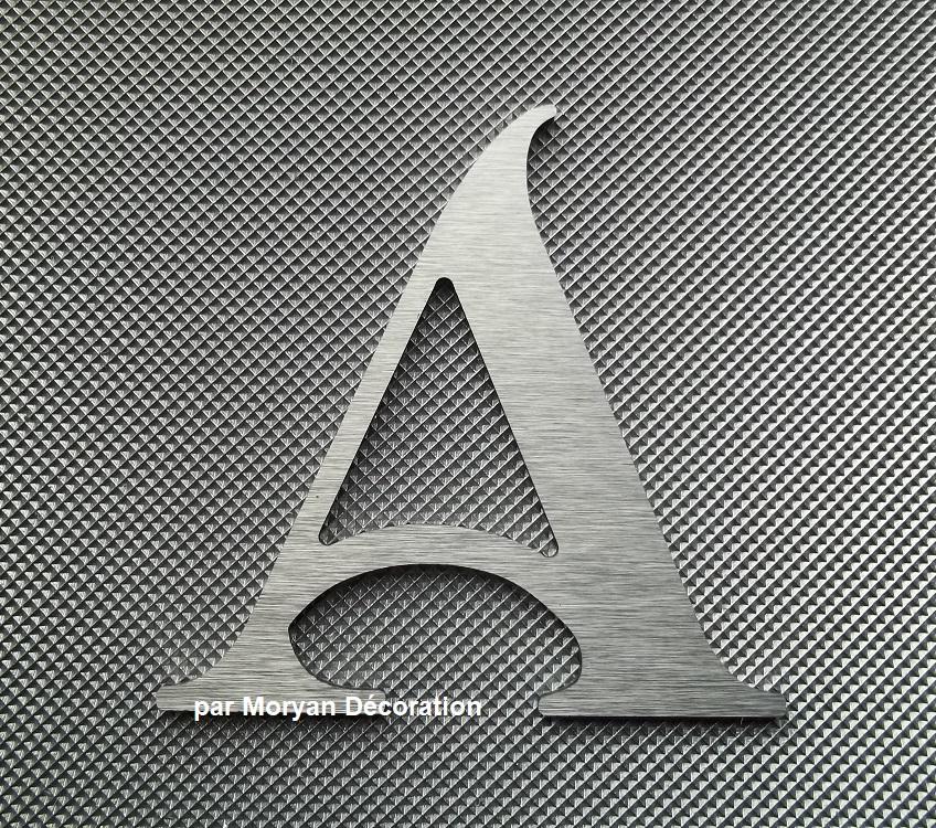 Lettre metal deco alu brosse shangri