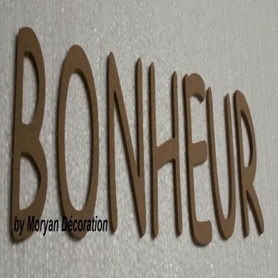 Lettres décoratives en bois à peindre ou à décorer BONHEUR , hauteur 20 cm
