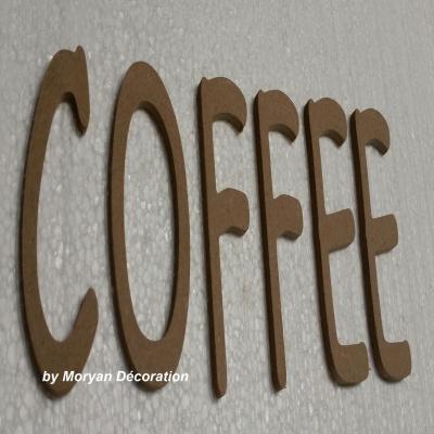 Lettres décoratives en bois à peindre ou à décorer COFFEE , hauteur 20 cm