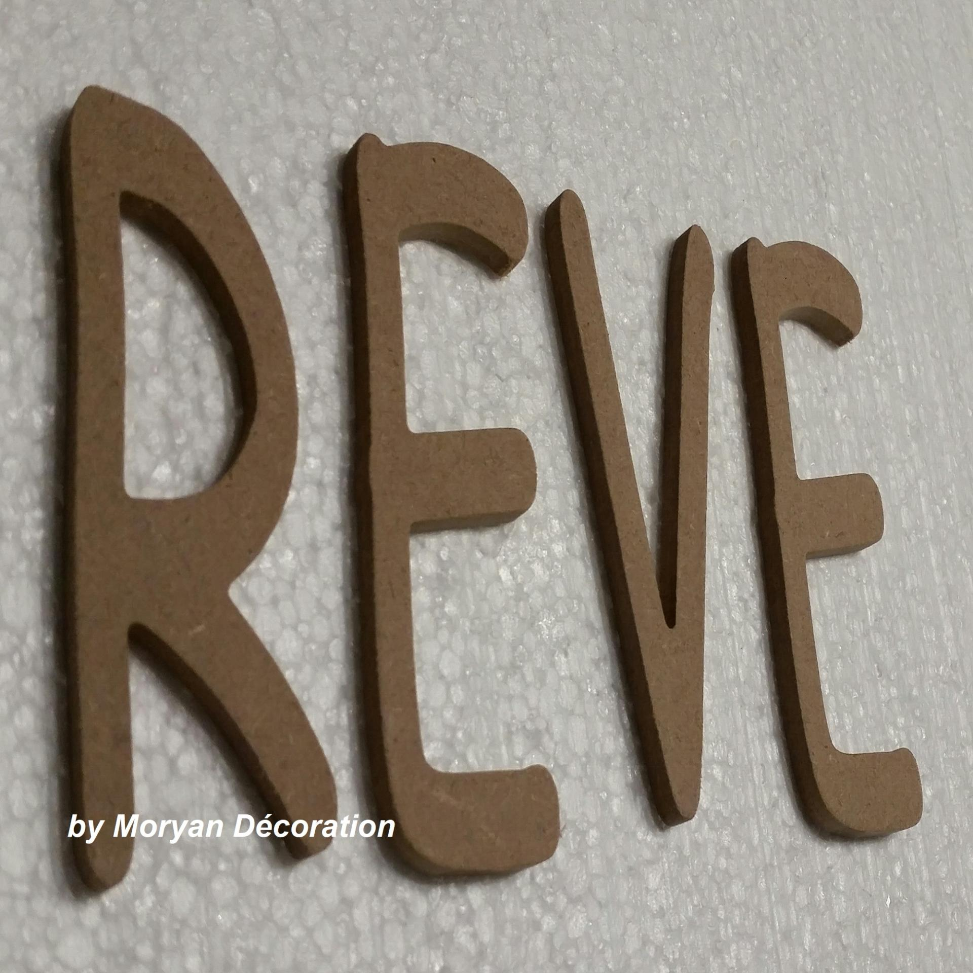 Lettres en bois reve 50 cm